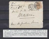 GB QV Cover SG156  8d  orange  London to Madras  via Brindisi  7-11-1878   Lot 1