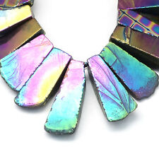 2 Electroplated Agate Druzy Rainbow Plated Beads Statement Pendants (BOX92)