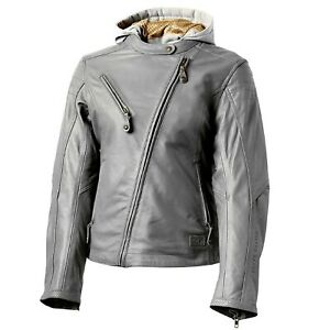 NOS ROLAND SANDS DESIGNS RD8989 MIA LEATHER JACKET GUNMETAL GRAY SIZE WOMENS SM