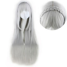 100cm Silver Gray Lady Fashion Long Straight Hair Braid Wigs Halloween Cosplay