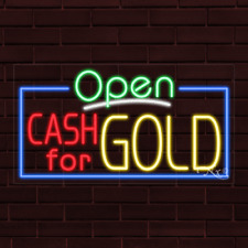 """Brand New """"Open Cash For Gold"""" w/Border 37x20X1 Inch Led Flex Indoor Sign 35598"""