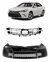 For 2015 2017 Toyota Camry Front Bumper Hood Upper and Lower Grille 2pcs Set