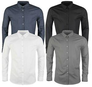 New Mens Smart Casual Formal Long Sleeve Dress Shirts Black Blue Shirt M to 6XL