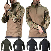 Men's Tactical Military Combat Long Sleeve Zipper Casual Shirts T-Shirts Tops US