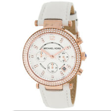 Michael Kors ladies Parker Chronograph Watch Rose Gold White Strap MK2281