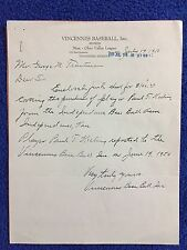 1950 Vincennes (Indiana) Velvets Defunct Minor League Baseball Team Letterhead