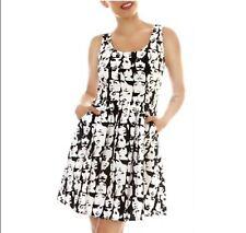 Modcloth Folter Black White Mod Faces Sun Summer Dress A Line Party Retro Small