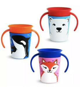 3 Munchkin Miracle 360 Childs Baby Trainer Sippy Cup WildLove BPA Free + 4 Lids