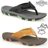 Mens Leather Summer Sandals Walking Toe Post Flip Flops Sandals Beach Shoes Size