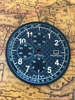XXL Carbon Chronograph Tachymetre Zifferblatt für ETA Valjoux 7750  - Neu