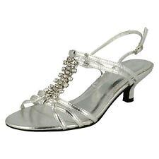 Ladies Spot on Kitten Heel Sandals The Style - F1723 6 UK Silver Standard