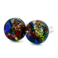 Murano Glass Cufflinks Multi Coloured Red Blue Circular Handmade from Venice