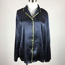 Gilligan & O'Malley Womens Sleepshirt M Navy Green Polka Dot Button Front