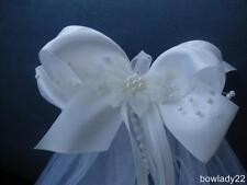 First Communion/Flower Girl Veil on White Saitn Bow with Sheer Flower Center New