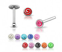 1 22g 6mm Silver Swirl Painted Nose Bone Stud Ring N156
