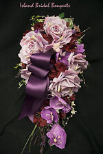 PURPLE  RED IVORY WEDDING BOUQUET ORCHIDS ROSES CUSTOM DESIGN 17 PC