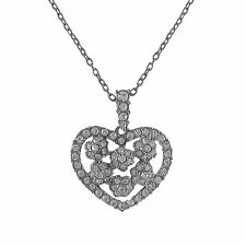 "Rhodium Plated Crystals Floral Heart Womens 19"" Pendant Necklace"