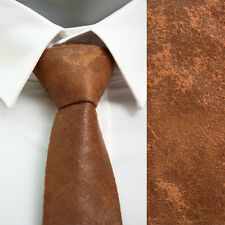 VoiVoila Men's Casual Vintage Skinny Slim Light Brown Solid Faux Leather Necktie