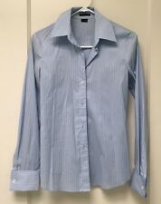 Theory Women's Blue Striped Button Down Career Long Sleeve Shirt Top Size