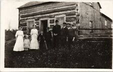 Family of Eight Portrait Old House Rocklyn Ontario ?? Real Photo Postcard E68