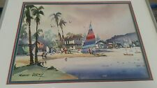 Wonderful Watercolor of Tropical Scene with Sail Boats by Robert Landry