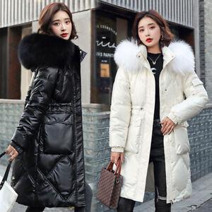 Women Ladies Lightweight Winter Warm Padded Puffer Fur Coat Jacket Size UK 6-16