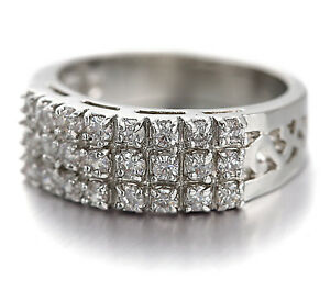 18K WHITE GOLD GF SILVER FILIGREE WOMEN WEDDING DRESS CRYSTAL ETERNITY BAND RING