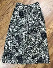 Women's Long Skirt Small Green & Black Floral Paisley Demon & Co Linen Blend AG