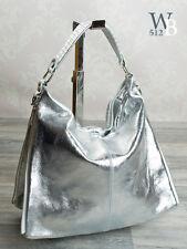 Made in Italy fashion Sac En Bandoulière Shopping CUIR VÉRITABLE ARGENT Mettalic