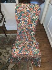 6 Custom Chair Covers Bright Floral Multi-Colored Pattern