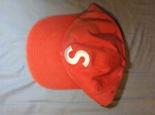 Supreme Washed Chambray S Logo 6 Panel Cap - Red