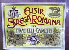 Etichetta originale d'epoca Vino Liquore ELISIR STREGA ROMANA F.lli Caretti