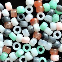 100pcs acrylic pony beads, jade imitation, 9 x 6mm, options for colors