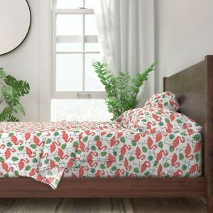 Coral Flamingo Palm Leaves Bright Birds 100% Cotton Sateen Sheet Set by Roostery