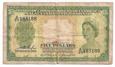 MALAYA AND BRITISH BORNEO 5 DOLLARS 1953 U