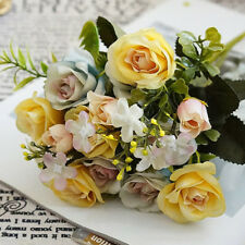 13Head Artificial Fake Roses Silk Flower Wedding Party Bridal Bouquet Home Decor