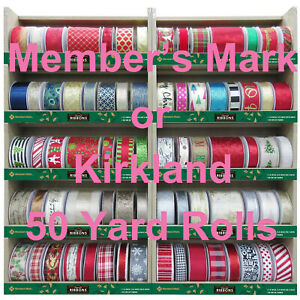 "50 Yard Wired CHRISTMAS Ribbon YOUR CHOICE ~Kirkland- Member's Mark 1.5"" or 2.5"""