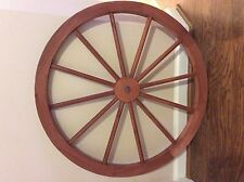 "36"" RED STAINED WOODEN WAGON WHEEL WESTERN STYLE GARDEN DECORATIVE"