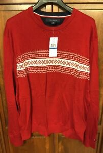 Tommy Hilfiger Holiday Ski Snowflake Crewneck Sweater Red Men's XL