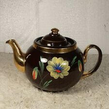 Vintage Alcock Lindley & Bloore ALB England Brown Teapot Hand-painted Flower