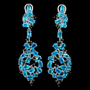 Oval Paraiba Blue Apatite 5x3mm Black Spinel 925 Sterling Silver Earrings