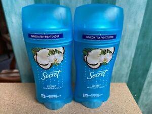 Secret Fresh Antiperspirant Deodorant Invisible Solid Coconut 2.6oz 2 Pack