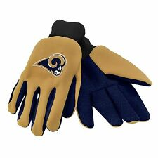 Los Angeles Rams Gloves Sports Logo Utility Work Garden NEW Colored Palm