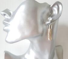 Gorgeous 4.5cm long gold tone sparkly glitter & diamante tassel drop earrings