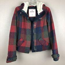 Hollister Women Medium Plaid Jacket Coat Hoodie Fur