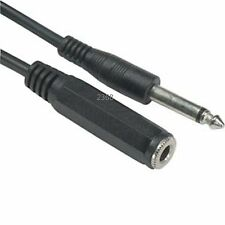 """6Ft 6.35 mm (1/4"""") Jack Mono Male-Female Headphone Mic Extension Cable"""