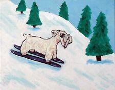 SEALYHAM TERRIER dog skiing  art print animals impressionism 8x10 new