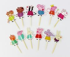 12 x Peppa Pig Cake Picks Cupcake Toppers Flags Kids Birthday Party