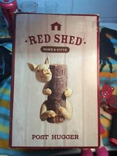 Red Shed Tractor Supply Little Pig Post Hugger Garden / Yard Decoration