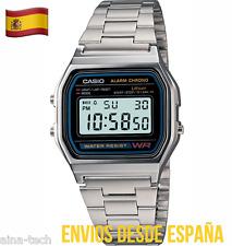 Reloj CASIO Caja metálica Acero A158WA-1CR Vintage Plata Luz Alarma ORIGINAL